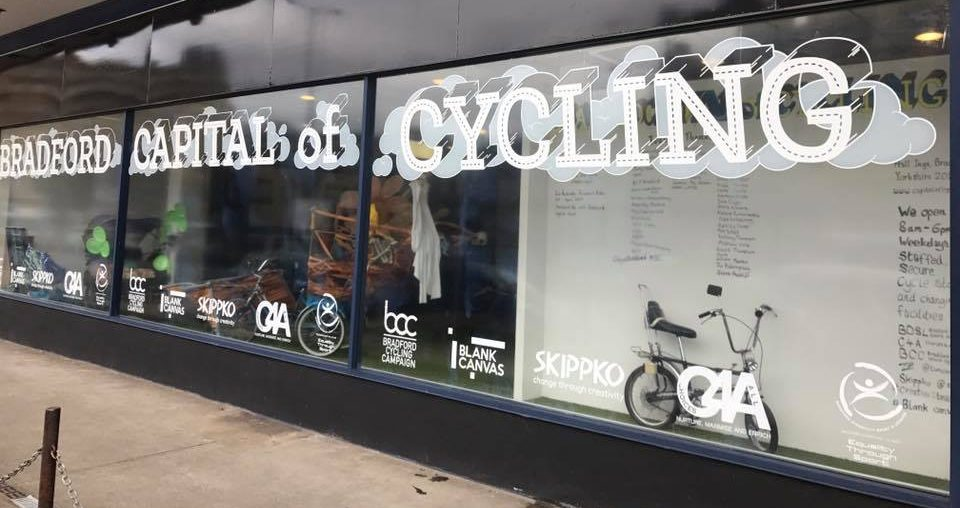 New Vinyl of the shop front window at Hall Ings - Capital of Cycling