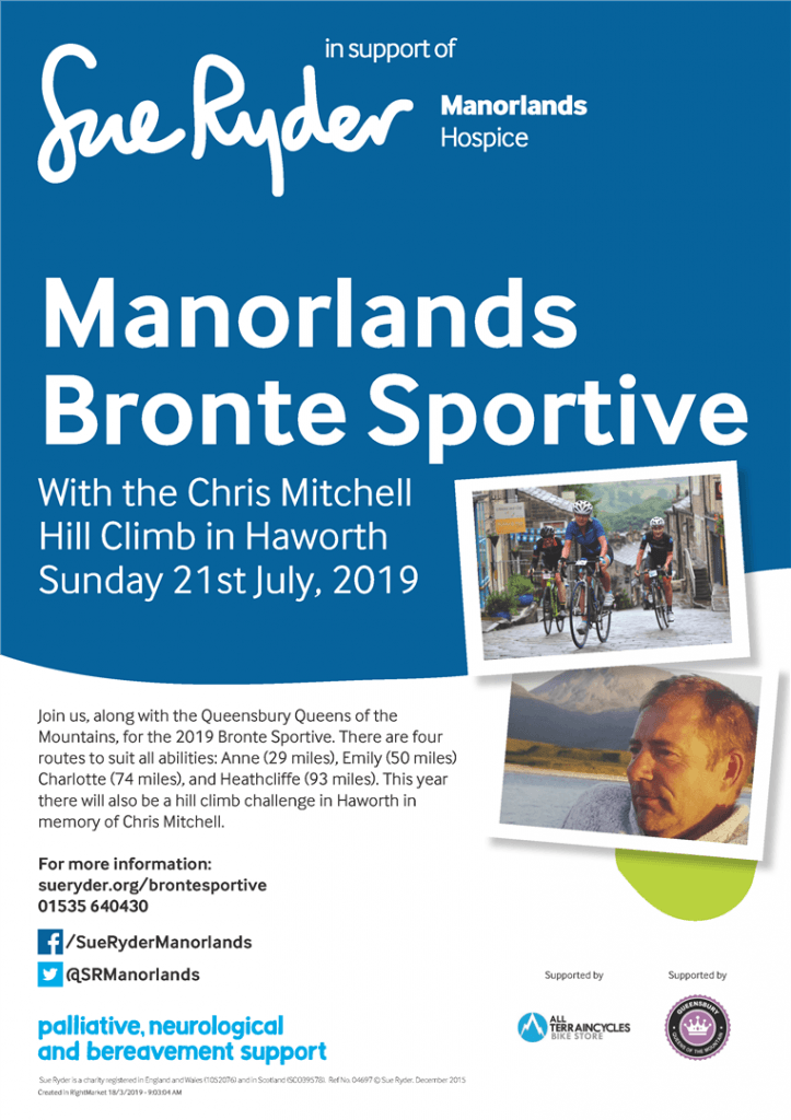 Flyer for Manorlands Bronte Sportive - for more info: www.sueryder.org/brontesportive